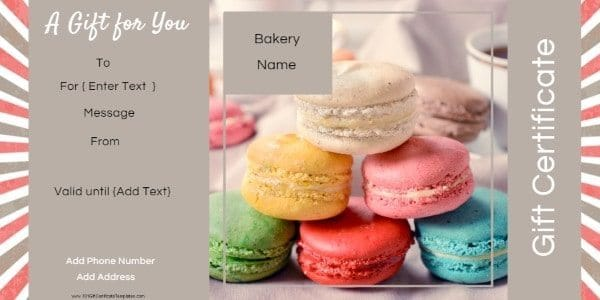 gift certificate template with a picture of macaroons