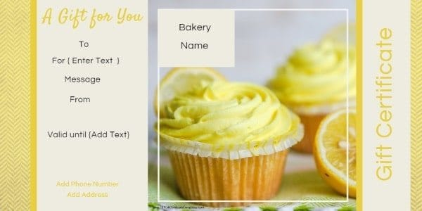 gift card with yellow lemon muffins / cupcakes