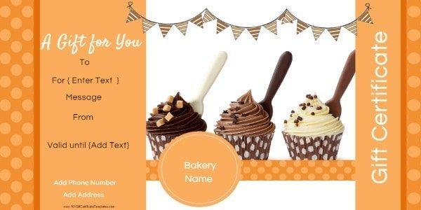 orange gift card with three cupcakes with chocolate frosting