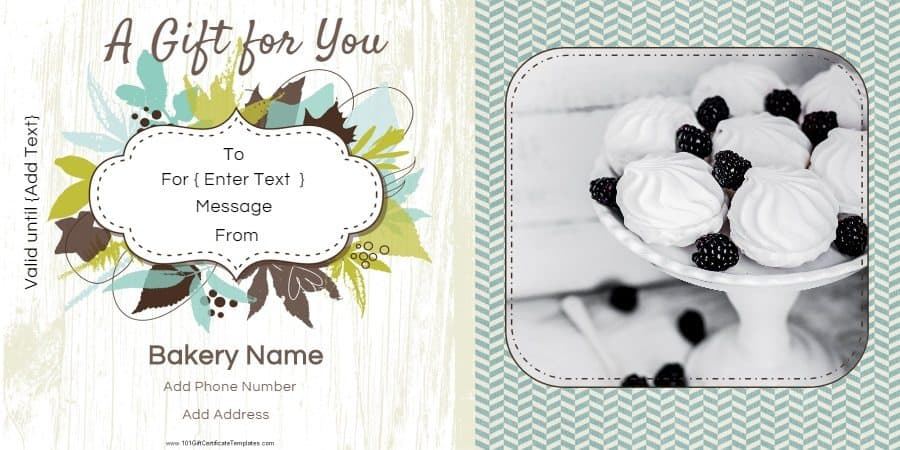 Gift certificate templates for a bakery floral gift card with a photo that can be replaced yelopaper Images
