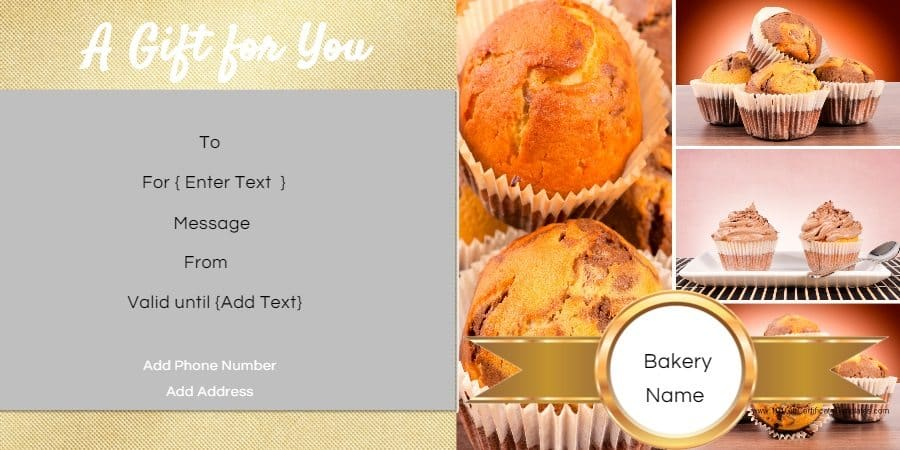 Gift certificate templates for a bakery gift certificate in gold with pictures of muffins yelopaper Images