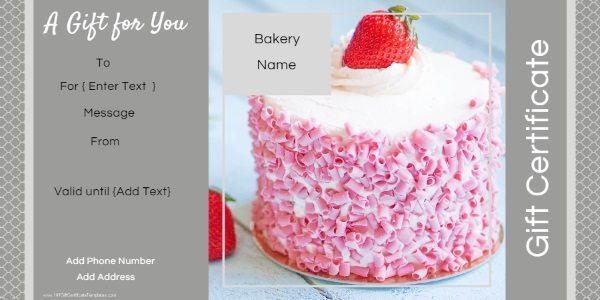 gift card with a pink cake