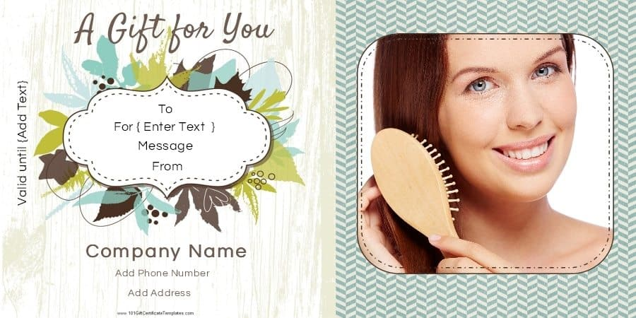 Gift certificate templates for a hair salon gift certificate with a photo of a lady brushing her hair yelopaper Choice Image