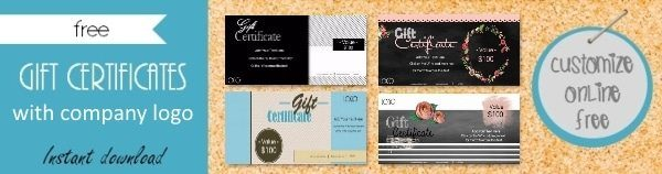 Free gift certificate template 101 designs customize online commercial use with company logo yadclub Choice Image