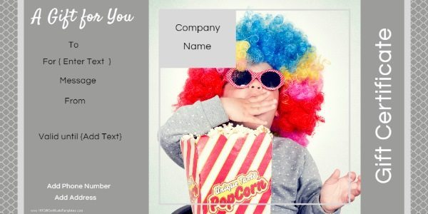 gift certificate template with a photo of a little boy. Could be used by photographers or businesses for children related products although the photo can be replaced and it can be used for any business.