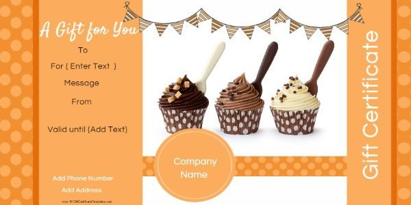 gift certificate template in shades of orange. This example has a photo of cupcakes but the photo can be replaced. Suitable for bakery or any other business if the photo is customized.