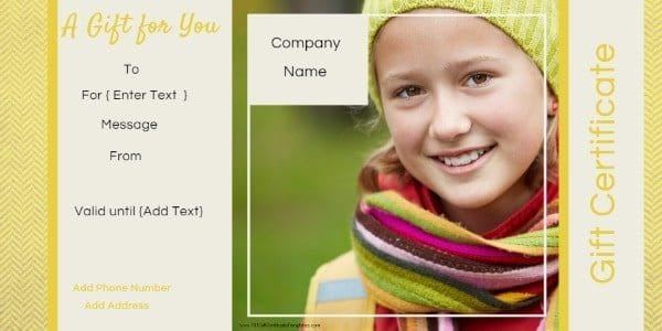 gift certificate template in shades of yellow and green. It has a photo of a young girl but the photo can be customized.