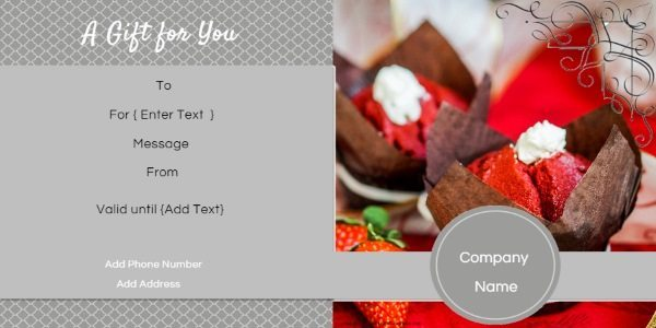 gift certificate template with red velvet cupcakes