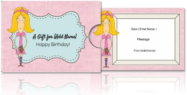 gift card holder template in pink