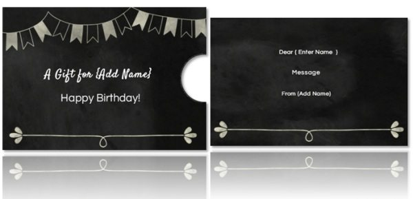 chalkboard gift card holder