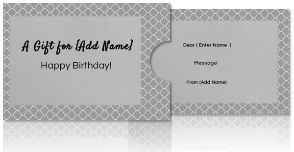 gift card holder in grey for any occasion