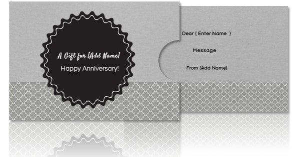 elegant grey and black gift card holder template that can be customized