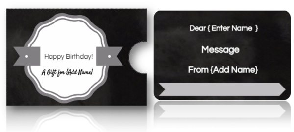 chalkboard gift card holders
