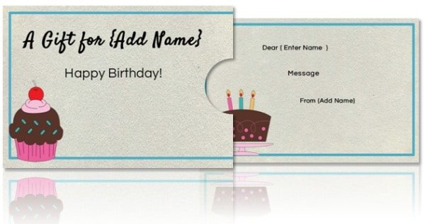 Birthday gift card holder template