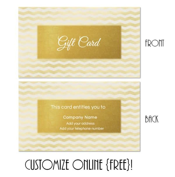 gold gift certificate with gold chevron background