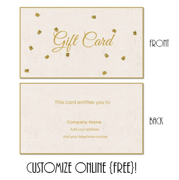 gift card template with gold dots
