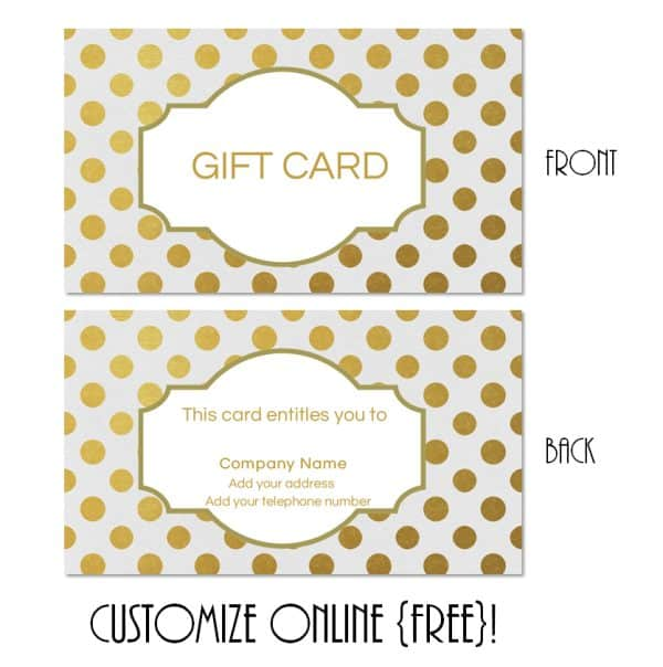 Gold polka dot customizable gift card
