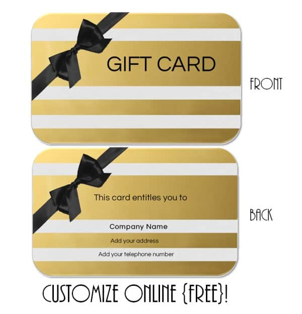 A gold gift card template with black ribbons
