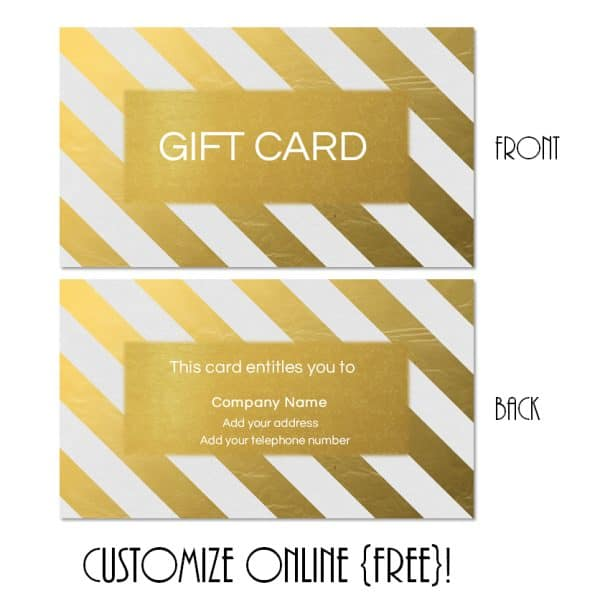 gold gift card template with gold diagonal stripes