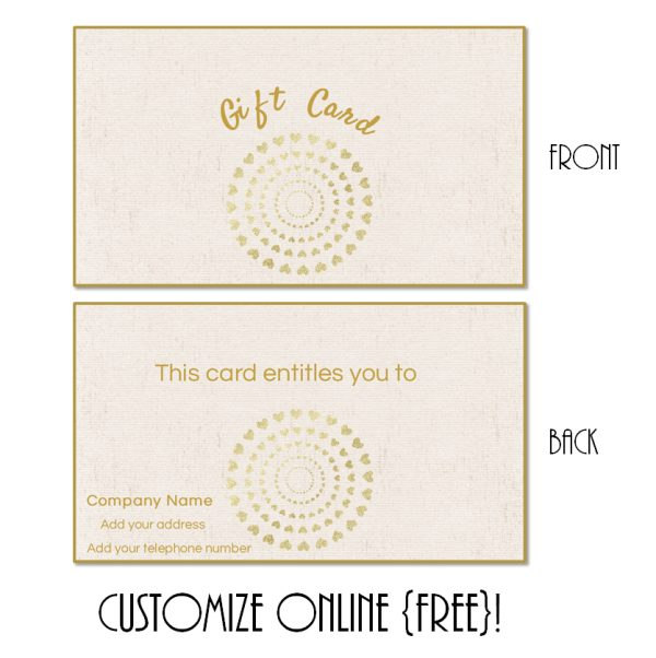 gift card template with a cremem textured background and a round design with little gold hearts