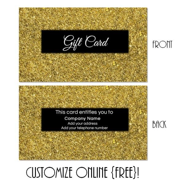 gold and black gift card with a gold glitter border