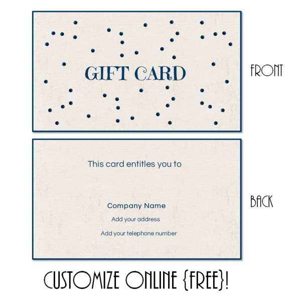 gift card with a blue border and blue glitter