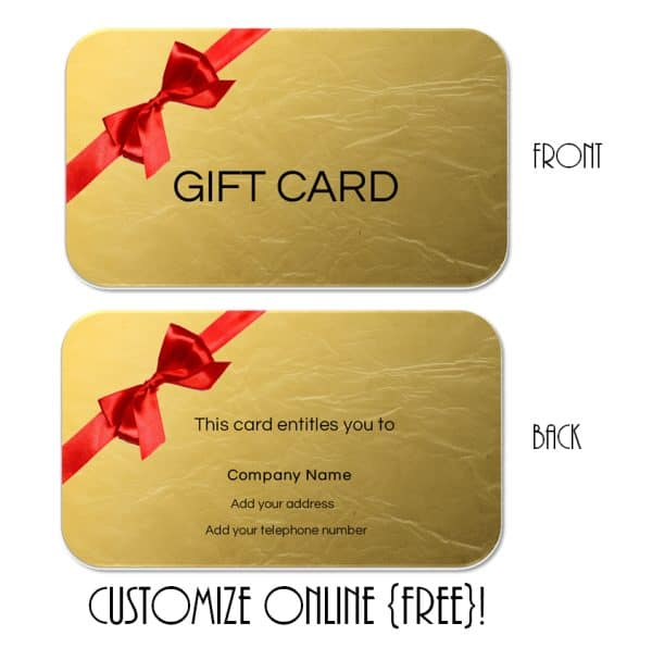 gold gift certificate with a red bow