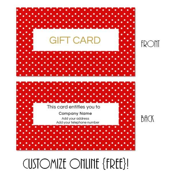 red polka dot gift card