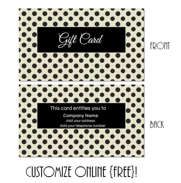 Black polka dot gift card