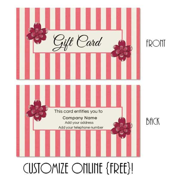 gift certificate with pink stripes and pink flowers