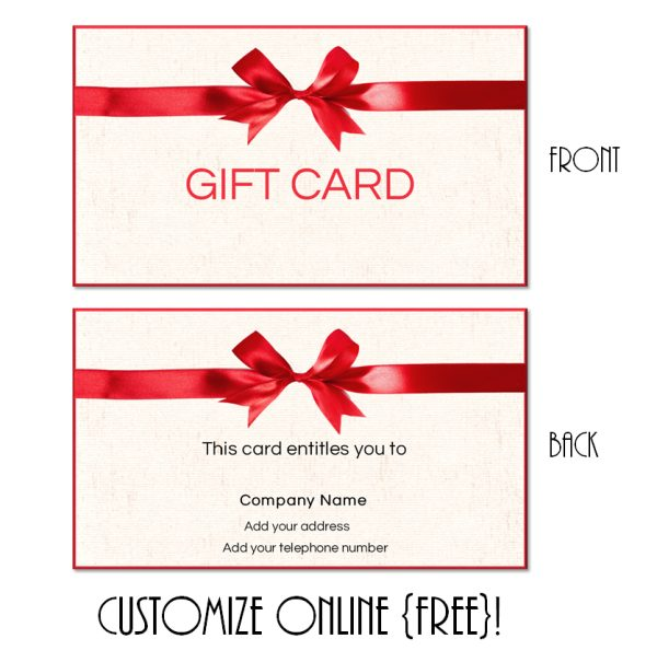 gift card with a red ribbon