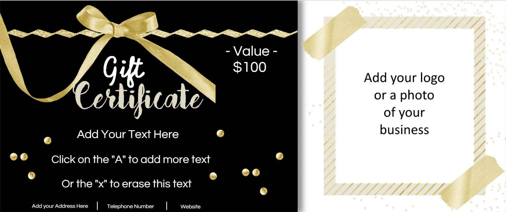 Gift certificate template with logo customize print negle
