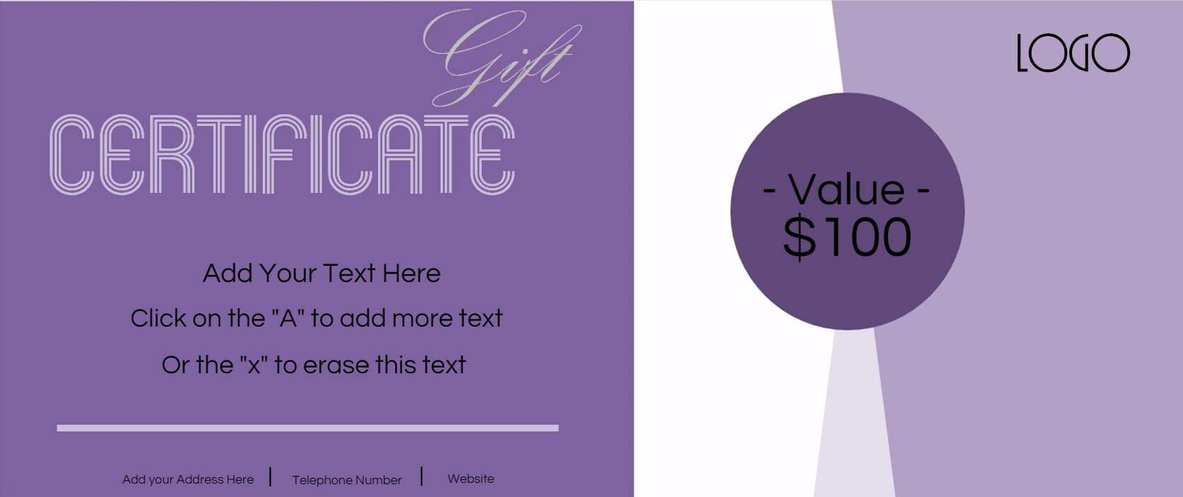 Gift certificate template with logo shades of purple xflitez Choice Image