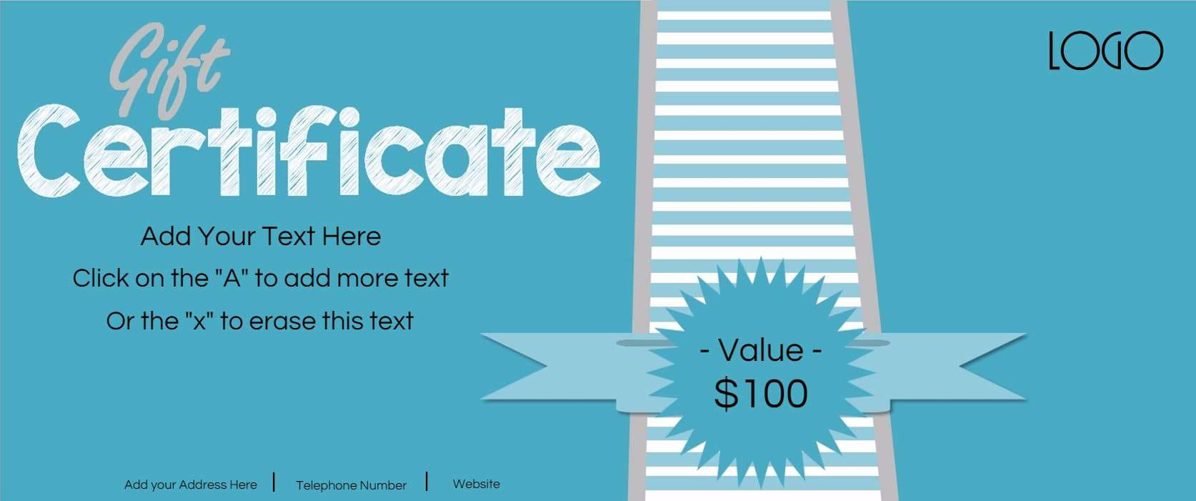 Gift certificate template with logo light blue with stripes xflitez Gallery
