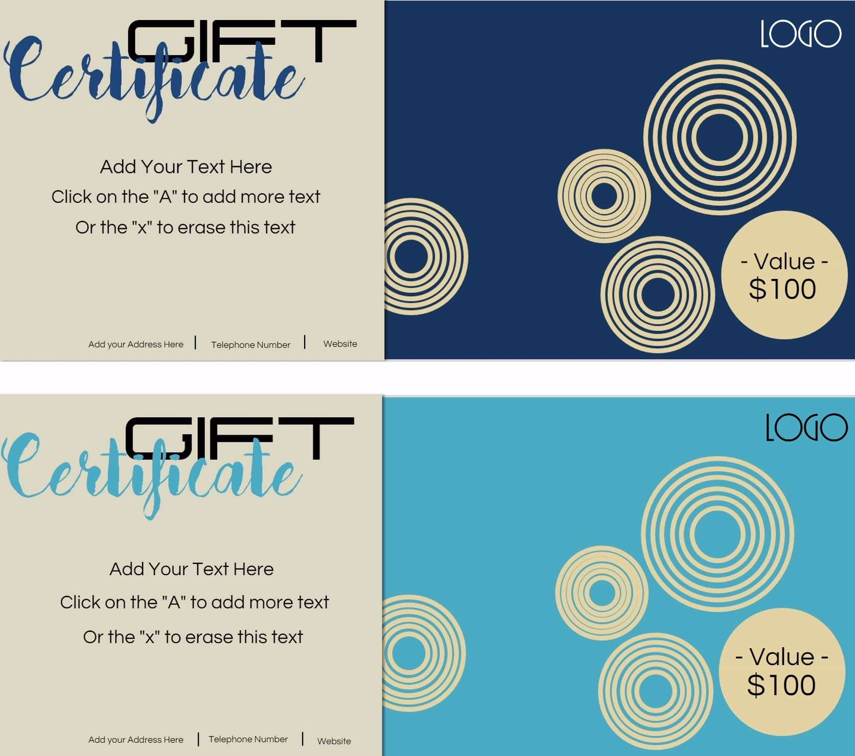 Gift certificate template with logo customize print xflitez Gallery