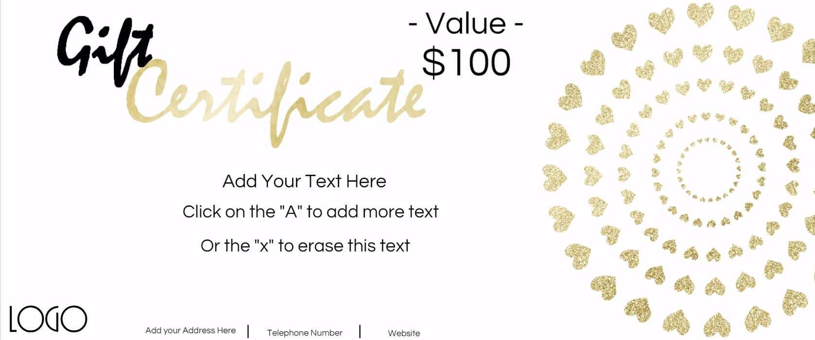 Gift certificate template with logo gold glitter hearts alramifo Gallery