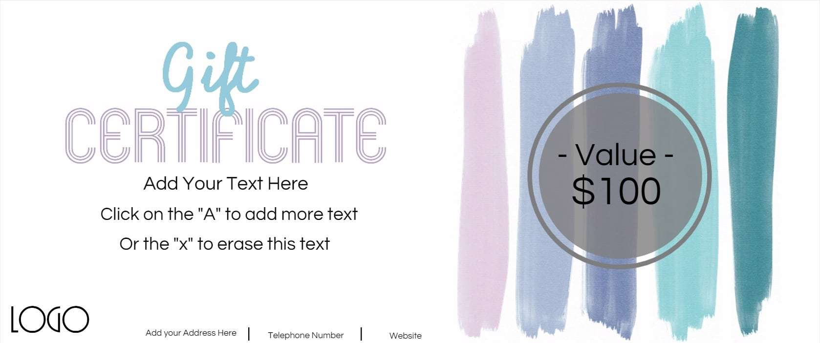 Gift certificate template with logo pastel stripes of watercolor yadclub Gallery