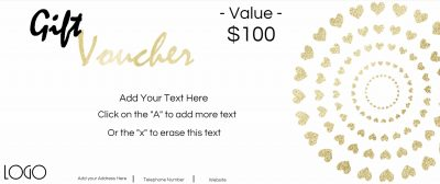Gift voucher with a white background and gold text and gold hearts