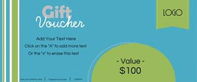 Blue and green gift voucher with customisable text.