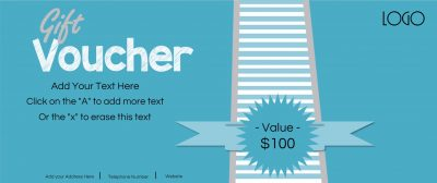 Gift voucher in blue with stripes and a blue ribbon. The denomination can be changed.