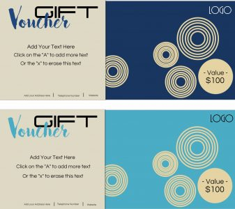 Two gift vouchers in two different shades of blue (light blue and navy)