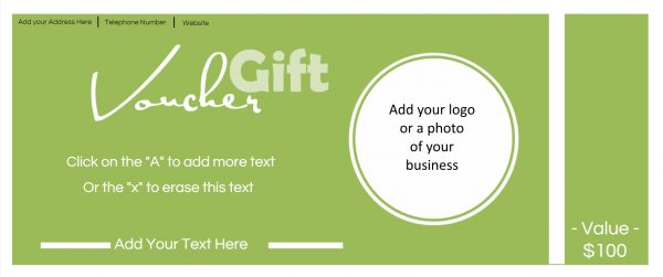 A free printable gift voucher with space for a photo of the business