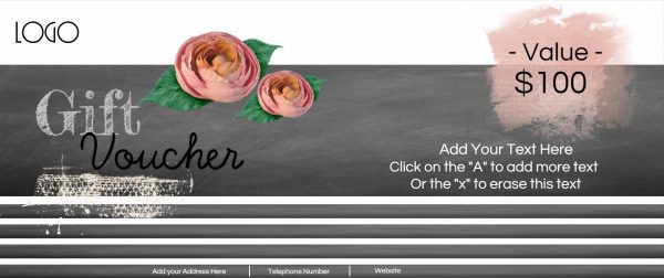 Free printable gift voucher with chalkboard background and pretty flowers