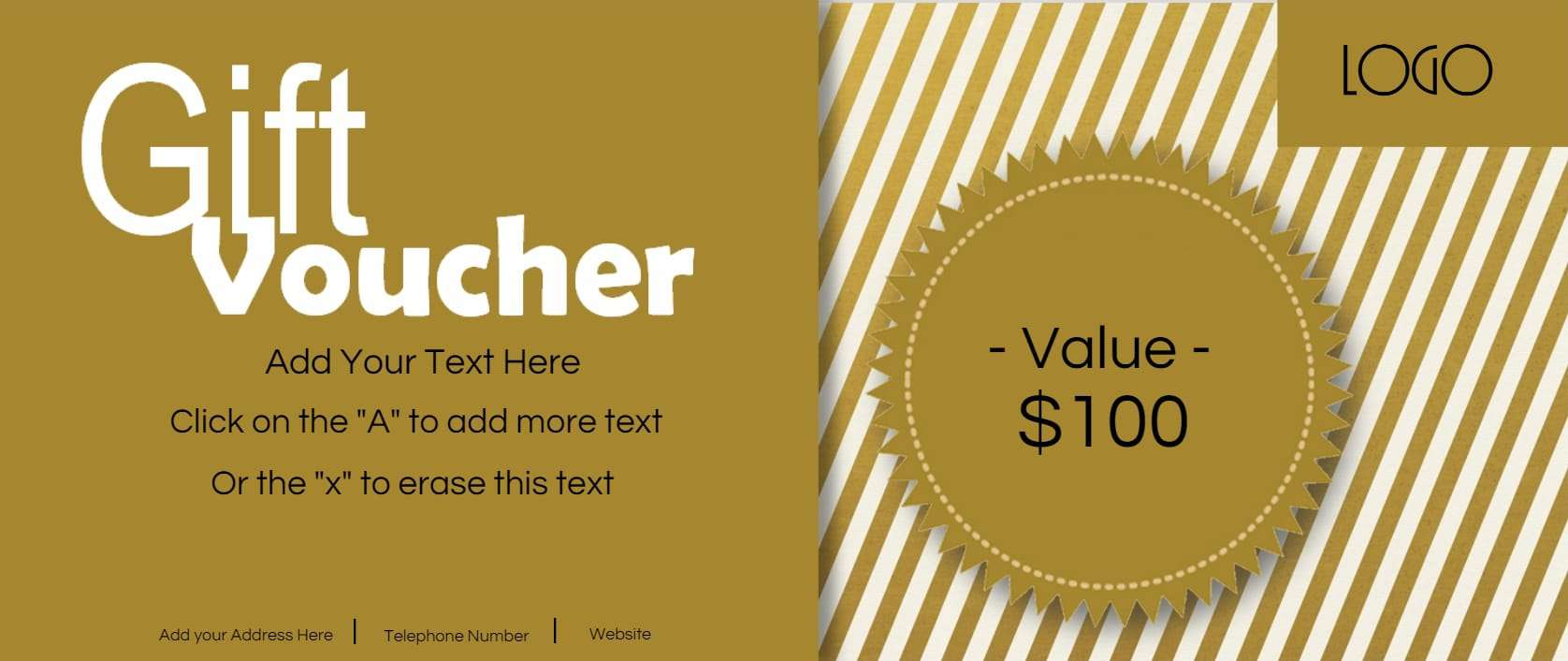 Beautiful Stripes Of Gold Regarding Free Voucher Templates