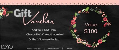 Gift voucher with a blackboard background and a wreath of pretty flowers