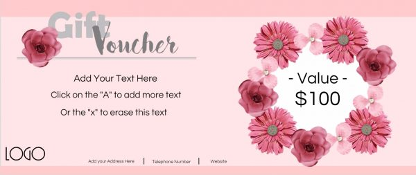 Gift voucher with paper flowers in shades of pink