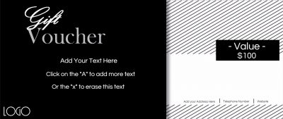 elegant gift voucher in black and white with black and white stripes