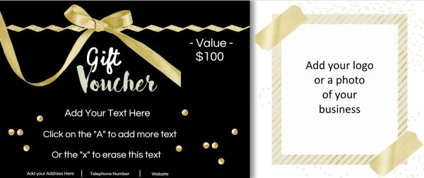 Black and gold voucher with a gold ribbon and space to add a photo of your business or you logo