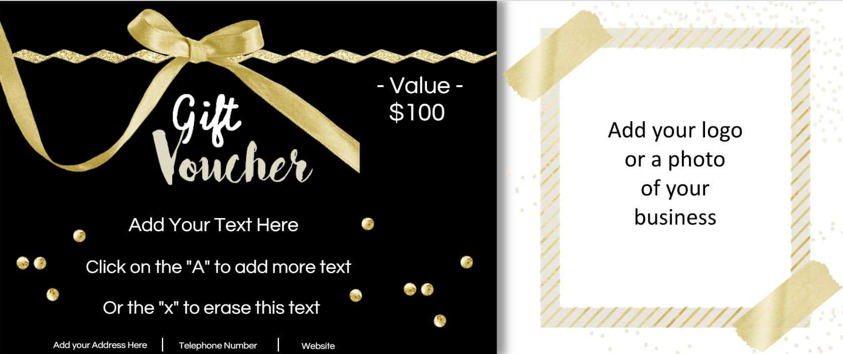 black and gold voucher with a gold ribbon and space to add a photo of your