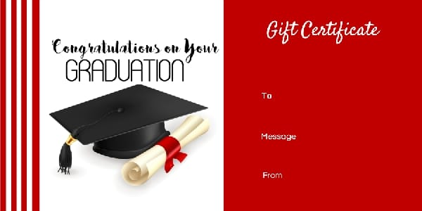 Graduation Gift Certificate Template - Free & Customizable